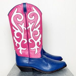O-Crossbill pink, blue & white cowboy boots